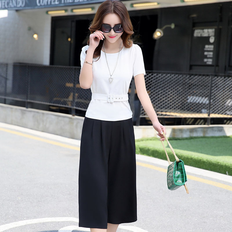 西琦尔夏季裙子两件套短袖上衣阔腿裤七分裤套装16d