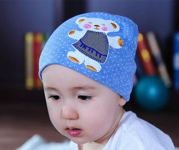 小熊贴布图案男童女童棉帽