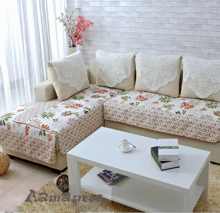 爱玛诺家居 欧式绗缝印花沙发垫沙发巾防滑沙发罩124