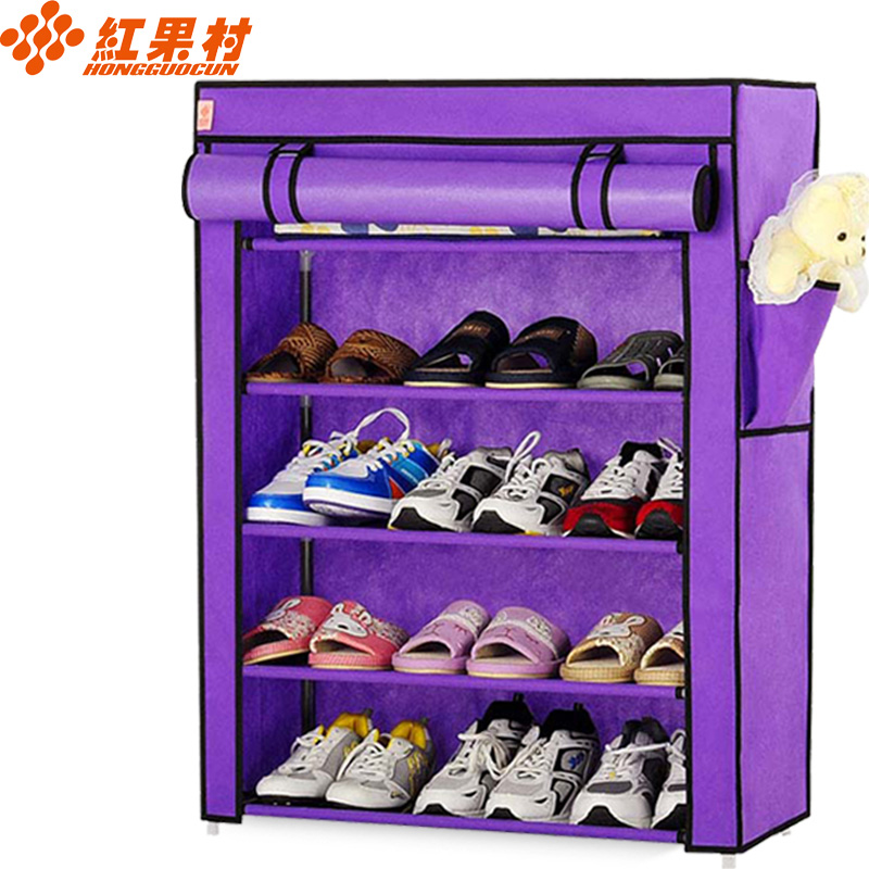 红果村 五层防尘简易布鞋柜 时尚自由组合单人鞋柜[紫色 60*30*88cm]