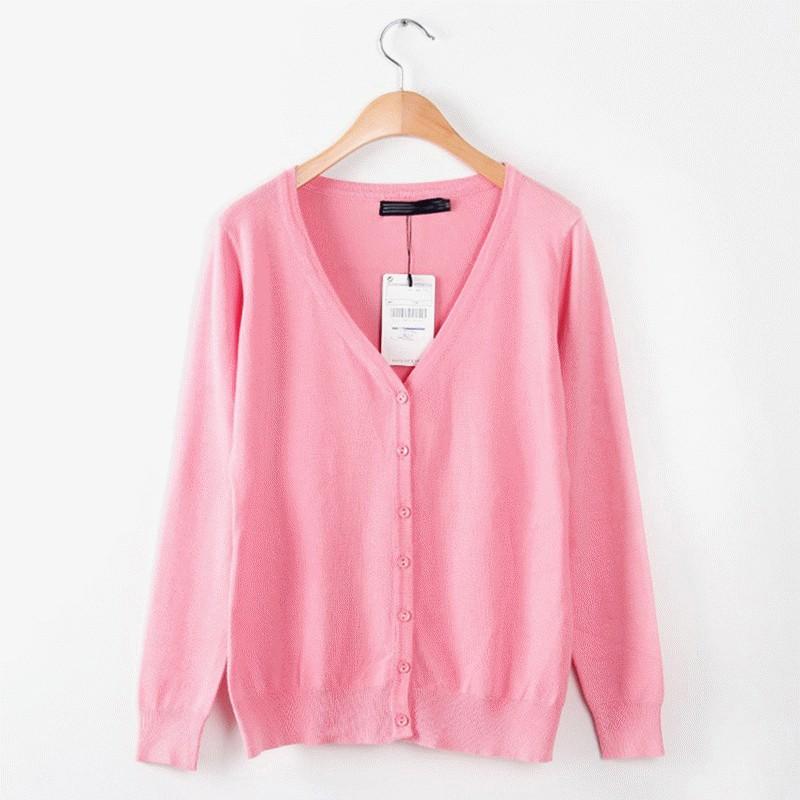 新品女装欧美时尚修身甜美水果色纯色v领针织衫开衫外套12色[浅粉色 l