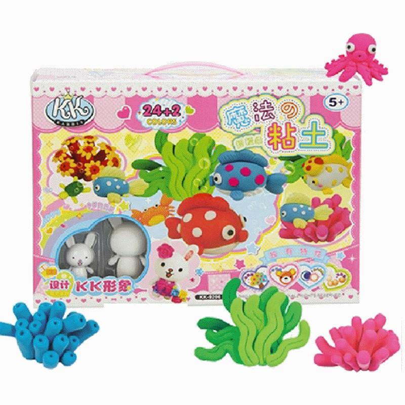 智高 手工彩泥魔法粘土-24色海洋魔法粘土 超大装3d轻质彩泥 儿童礼物